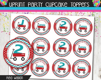 Little Red Wagon Cupcake Toppers - Red Wagon Birthday -