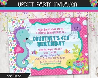 Under The Sea Party Invitation - Seahorse Invitation - Custom - Printable