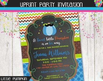 Sweet Little Pumpkin Fall Autumn Baby Shower Invitation Invite