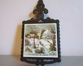 Cast Iron Christmas Trivet  Kitchen Home Decor Gifts Ceramic Tile Hot Pad Pot Holder