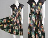 Vintage 70s OSSIE CLARK Black Chiffon Dress Celia Birtwell Floral Print Sheer Dress 1970s Designer Radley Dress 1930s Style Peplum Dress