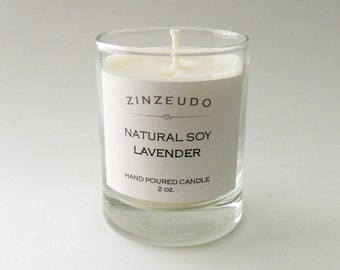 LAVENDER Soy Wax Votive Glass Jar Candle Aromatic Aromatherapy Relaxing Calming