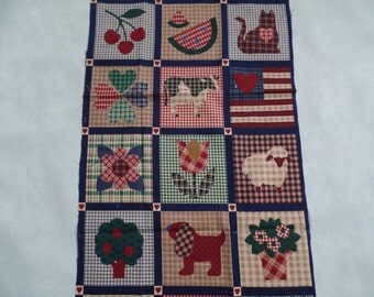 Preprinted Miniature Quilt, Cheater Cloth, Vintage Fabric Panel, Country Folk Art Blocks, Beginner Quilting Project, Sewing/ Craft Project