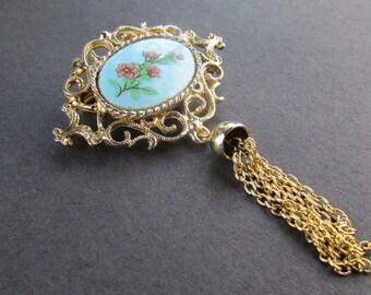 Unique Metal Brooch, Vintage Tassel Brooch, Blue Tassel Brooch, Goldtone Tassel Brooch, Floral Brooch, Rose Tassel Brooch, Free US Shipping
