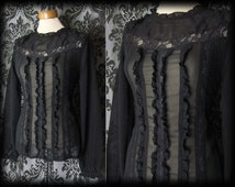 Goth Black Sheer Frilled Bib VICTORIAN GOVERNESS High Neck Blouse 10 12 Vintage