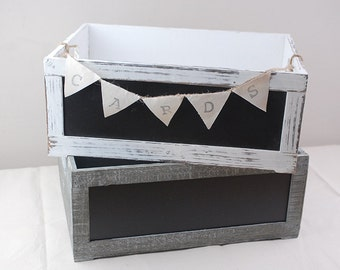 Rustic Wedding Card Box - White