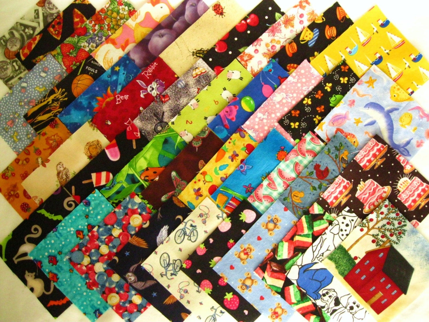 I spy childrens novelty 4 1 2 fabric quilt squares all for Children s character fabric
