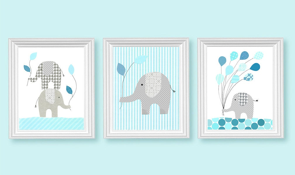 elephant nursery aqua and grey nursery decor bedroom