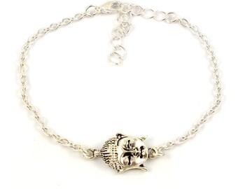 Silver plated buddha bracelet - silver mix and match armcandy