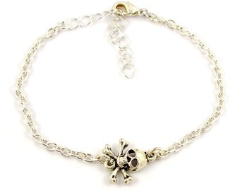 Silver plated skull bracelet - silver mix and match armcandy - Silver