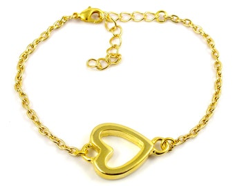 Gold plated heart bracelet - gold mix and match armcandy