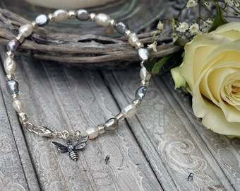 Natural Freswater Baroque Pearl and Little Bumble Bee Bracelet