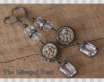 Antique Victorian Rose and Trellis Picture Button Earrings, circa 1880's by The Salvaged Bead