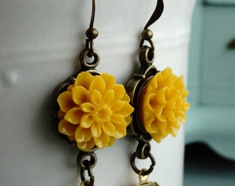 Earrings, mustard yellow resin flower and crystal earrings