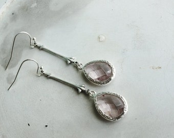 50% OFF Earrings, long silver and lilac dangle earrings