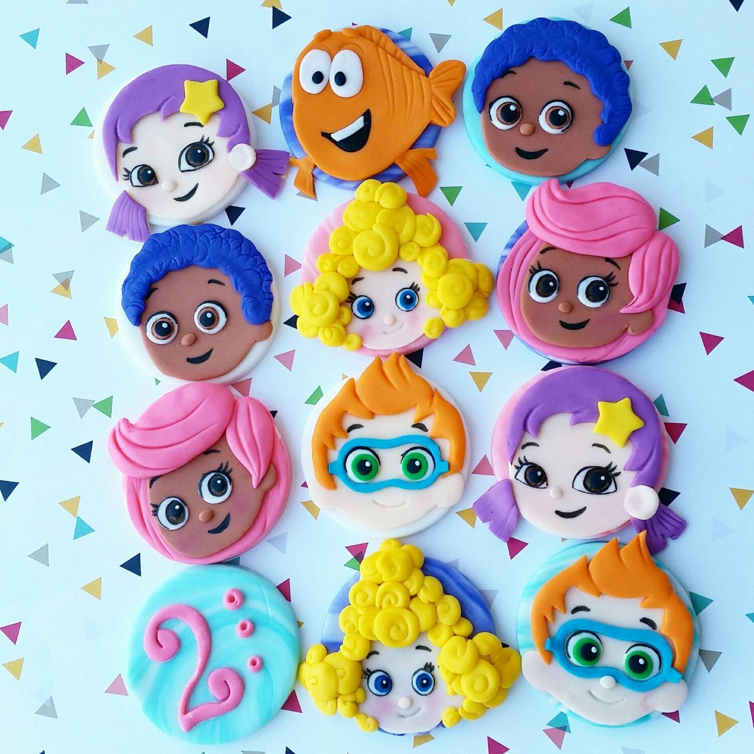 bubble guppies cake toppers guppies edible fondant cupcake toppers 2100