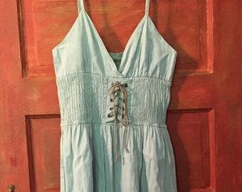 Vintage Denim Lace Up Sundress Light Blue With Smocking Gathers and Spaghetti Straps