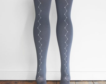 hand printed grey constellation tights