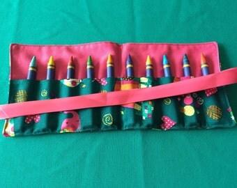Girly Elephants Crayon Roll