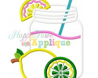 Lemonade Glass Machine Embroidery Design