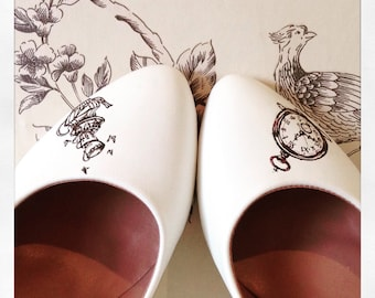 Handpainted Alice in Wonderland Wedding shoes