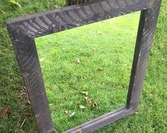 Pine Mirror Frame - Rustic Mirror - Rough Sawn Mirror Frame with Mirror - Rustic Mirror Frame - Distressed Brown/Gray