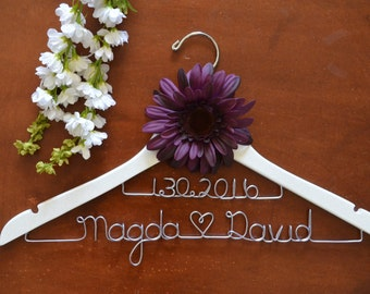 Personalized 2-Lined Custom Name Hanger with flower, Bride Dress Hanger, Bridal Shower Gift