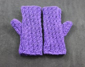 Fingerless purple ladies girls mittens-gloves wool