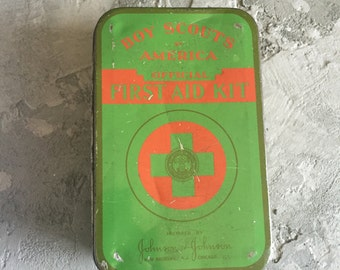 Vintage Boy Scout First Aid Kit Tin