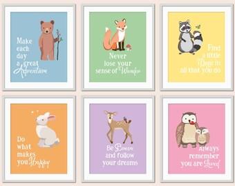 Woodland Nursery Art, Woodland Typography, Bear, Fox, Bunny, Owl, Forest Friends, Woodland Playroom Art, Baby Animal Nursery