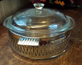 Vintage Pyrex Covered Casserole Dish and Chrome Stainless Stand 1970s