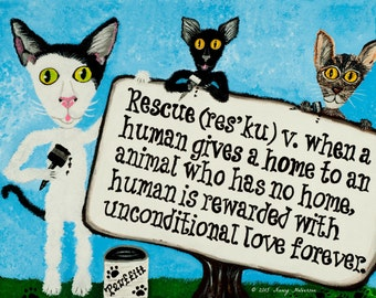 Gift For Cat Lover - Cat Mom Gift - Crazy Cat Lady Gift - Cat Wall Art - Cat Rescue Gift - Cat Adoption Gift - Cat Dad Gift - Cat Lover