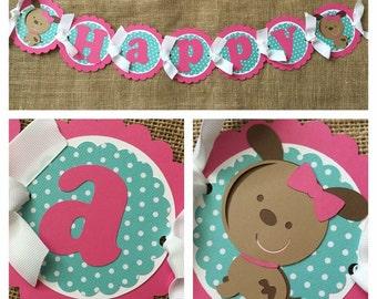 Girl Puppy Birthday Banner, Girl Puppy Party banner, Pink Puppy Birthday Banner, Pink Puppy Party Banner, Pet Shop Birthday Banner