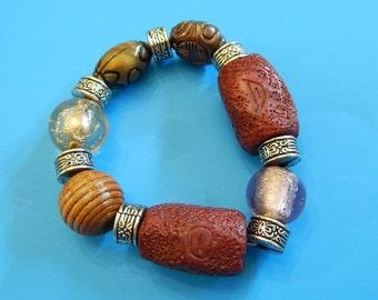 Chunky Faux Wood Metal Stone Ethnic Stretch Wrist/Ankle Bead Bracelet