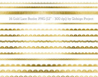 Gold lace border clipart gold border for scrapbooking wedding invitation personal and commercial use instant download
