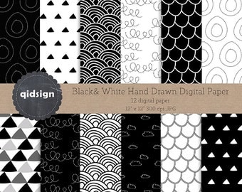 Hand drawn black and white digital paper  personal and commercial use instant download