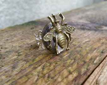 Bee Ring, Bee on Vintage 1940s Watch Face, Silver Plated Filigree Ring, Steampunk Ring