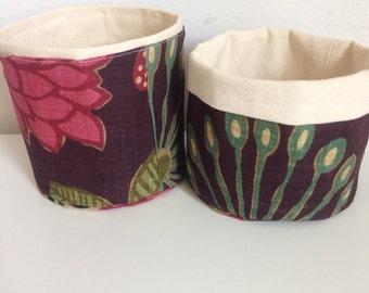 Reversible upholstery fabric basket
