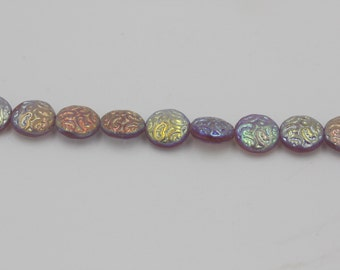 Czech Filigree Coin Beads-Lilac