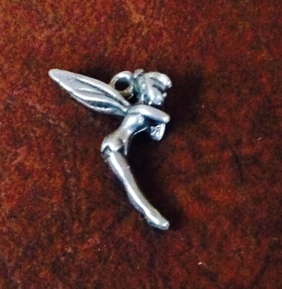 vintage sterling silver tinkerbell charm pendant signed disney
