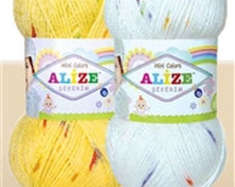 AcrylicYarn ,  Hand-knitting yarns , Alize Mini Color %100 Acrylic Yarn knitting crochet 330m 100g Soft yarn