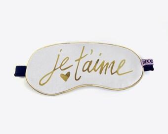 Je t'aime Eyemask, sleep mask, gold and white eyemask, white eyemask, bedroom accessory, beauty, love eyemask, graphic sleepmask, jetaime