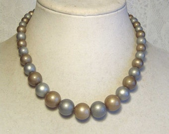 "Cynthia Lynn ""CHIC CHICK"" Brushed Gold & Silver Opaque Coated Pearl Necklace"