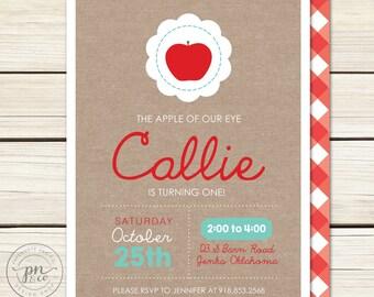 Apple Birthday Invitation // Fall Birthday Invitation // Apple of our eye // Apple Birthday // DIY Printables