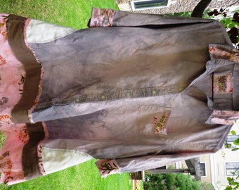 Shabby Chic, Tattered, Upcycled, Distressed, Hand Dyed, Women's, Tunic, Dress, Rustic, Frayed, 3/4 Sleeved, Reconstructed, Mori Girl, Artsy