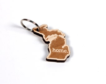 Michigan Key Charm by Home State Apparel: Laser Engraved Wood Keychain, MI
