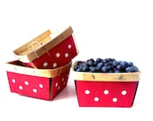 Red Polka Dot Berry Boxes ~ Hand Painted Wood Quart Farm Market Gift & Display Boxes~ /0512