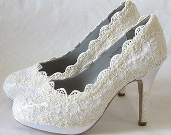 """PARIS Collection - WHITE French Lace Wedding Heels with Elegant Vintage Look - 3 1/2"""" Heel"""