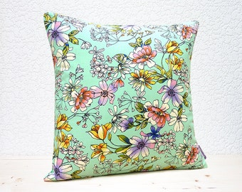 "Handmade 16""x16"" Cotton Cushion Pillow Cover in Pink/Mauve/Yellow/White Hand Sketched Summer Flowers on Aqua Design Print"