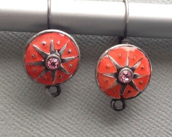 1 pair (2 pieces) of enamel latch back earring finding silver tone, 15mm x 17mm  #FIN E 048
